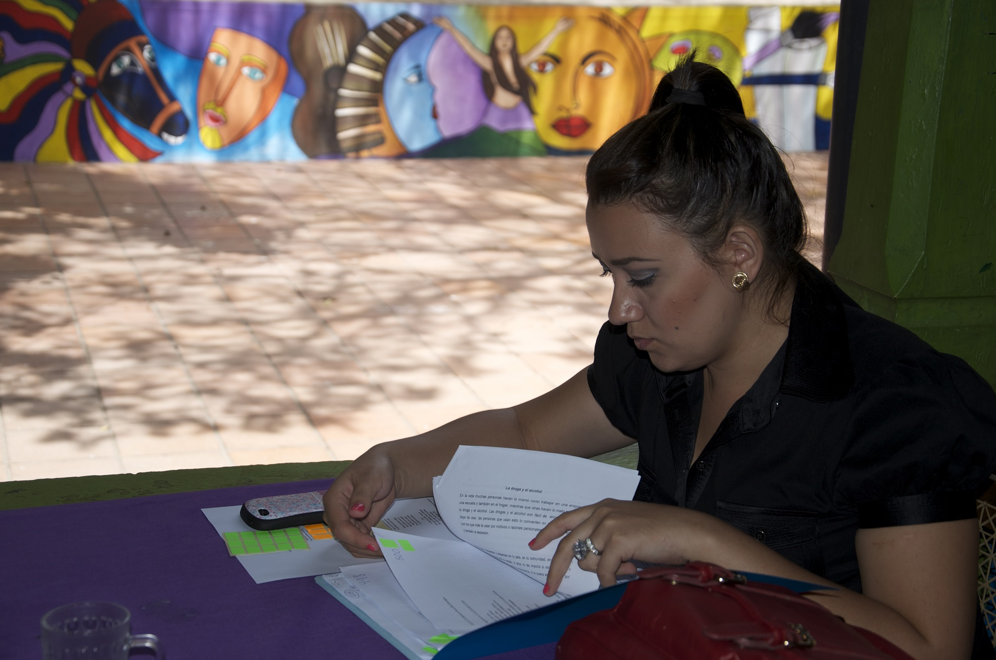 Reading and marking Global Dialogues contest entries in Nicaragua